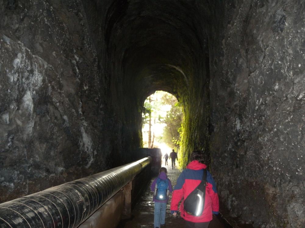 Välillä kuljettiin tunneleiden läpi. Vesi virtasi putkissa.