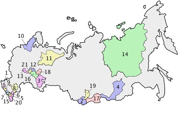 Venäjän hallinnolliet aleet. Nro 4 on Burjatian tasavalta, 10 on Suomen naapuri,  Karjalan tasavalta ja  17 Tuvan tasavalta.