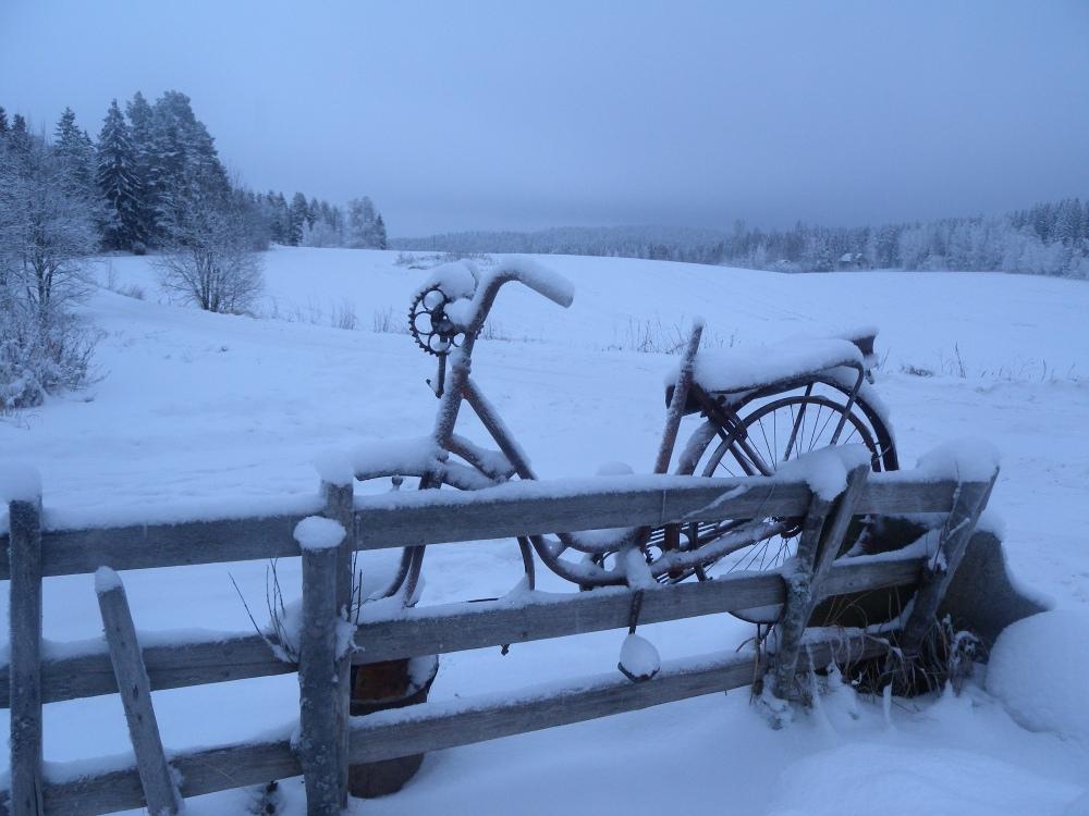 Tällä pyörällä on ajettu Suomessa, Jämsän Kukkaismäessä.