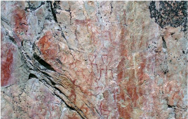 Hossan kalliomaalauksia. Kuva Wikipediasta.
