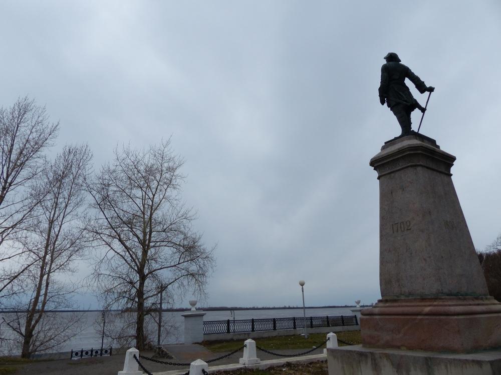Pietari Suuri katselee Vienanjoen yli Jäämerelle päin vuonna 1702.