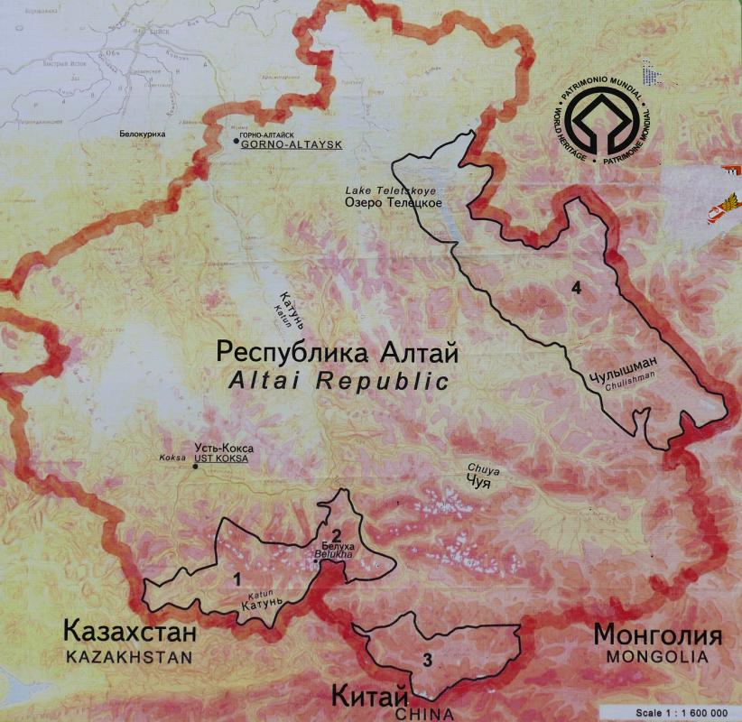 Altain tasavallan kartta. Numeroidut alueet ovat luonnonsuojelualueita.