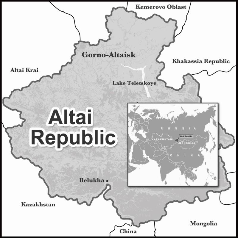 Altai sijaitsee keskellä Euraasiaa.